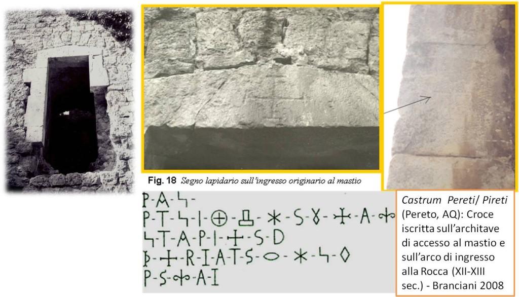 Castrum Pereti/ Pireti (Pereto, AQ): Croce iscritta sull'architave di accesso al mastio e sull'arco di ingresso alla Rocca (XII-XIII sec.) - Branciani 200