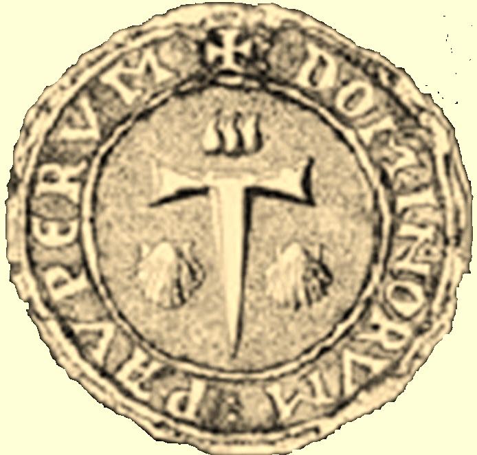 Tau: PAUPERUM DOMINORUM; due conchiglie a destra e sinistra; triplice segno nel quadrante superiore.